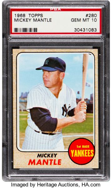 Baseball Cards Singles 1960 1969 1968 Topps Mickey Mantle 280 Psa Gem Mint 10 Tho Mickey Mantle Baseball Cards Baseball