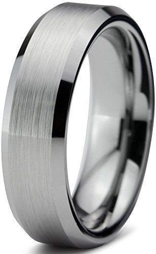 Tungsten Wedding Band Ring Free Custom Laser Engraving 6mm For Men Women Silver Grey Beveled Edge Br Tungsten Wedding Bands Wedding Ring Bands Tungsten Wedding