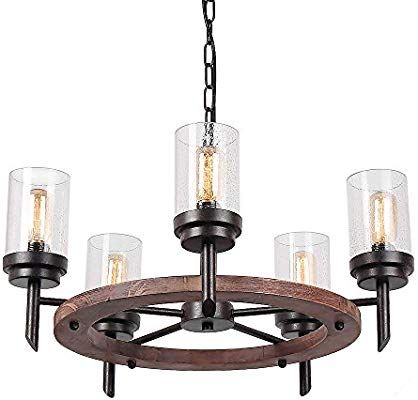 Eumyviv 17803 5 Lights Annular Metal Wood Pendant Lamp With Glass