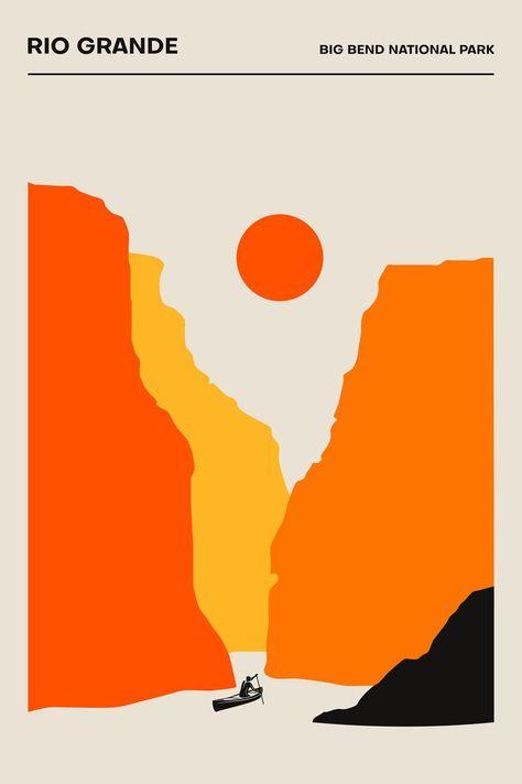 The Rio Grande, Parc national de Big Bend - Poster - Impression minimaliste   Pos imprimé ... #Bend #Big #de #Grande #Impression #imprimé #minimaliste