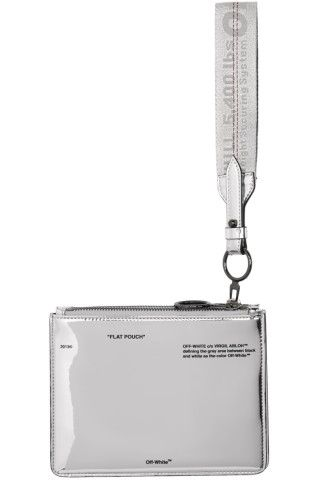 Off-White - Silver Mirror Double Flat Pouch