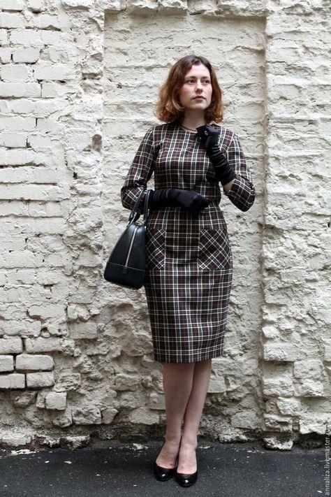 15c8b713c6e Платья ручной работы. Ярмарка Мастеров - ручная работа. Купить Женское платье  в клетку в деловом стиле. Handmade. Деловой стиль