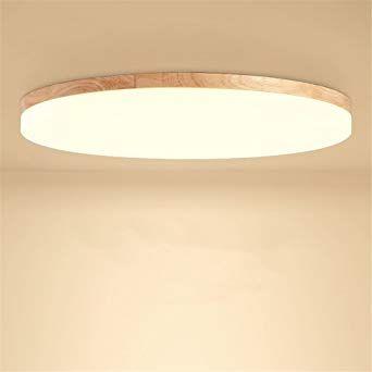 Sjun Deckenleuchte Holz Wohnzimmer Lampe Rund Flach