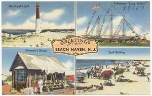 Greetings From Beach Haven N J Barnegat Light Schooner Lucy Evelyn Seaman S Shack Surf Bathing Beach Haven Long Beach Island Vintage Postcard
