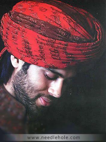 MT300036 Royal Rajasthani #Indian #Wedding #Turban For #Groom In Silk Jamawar Fabric http://www.needlehole.com/red-rajasthani-wedding-turbans-for-grooms.html#.WGyfOxt97IU