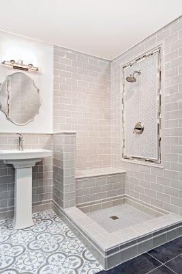 Cheverny Blanc Encaustic Cement Wall And Floor Tile 8 X 8 In Tile Bathroom Grey Bathroom Floor Small Bathroom