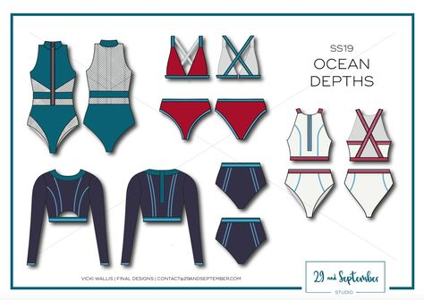 SS19 fashion design + technical drawings | swimwear trends. Swim inspiration | technical drawings for fitness apparel by 29andSeptember Studio
