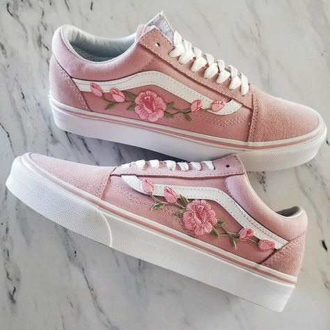 Boutons de roses rose/rose personnalisé baskets Vans Old-Skool