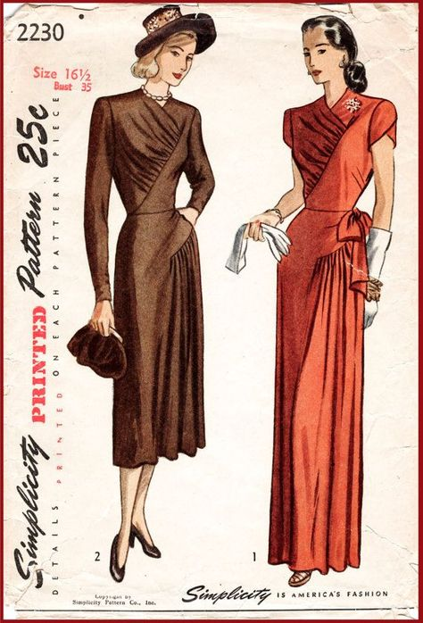 40s 1940s vintage repro sewing pattern film noir evening ball gown cocktail…