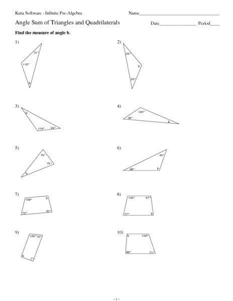 Triangle Angle Sum Worksheet : triangle, angle, worksheet, Triangle, Angle, Worksheet, Answers, Triangles, Quadrilaterals