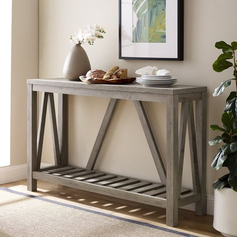 Rustic Gray Entryway Table A Frame In 2020 Sofa Table Decor