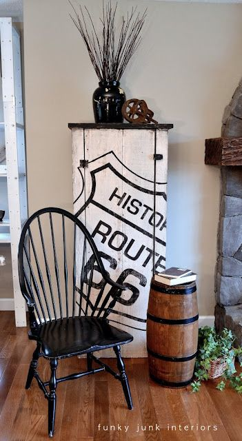 amazing DIY 'Route 66 cupboard' via Funky Junk Interiors. amazing DIY 'Route 66 cupboard' via Funky Junk Interiors. Funky Furniture, Repurposed Furniture, Furniture Projects, Rustic Furniture, Furniture Making, Furniture Makeover, Painted Furniture, Pallet Projects, Furniture Removal