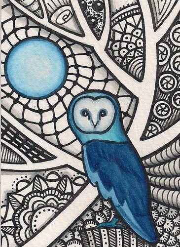 ACEO - Blue Owl Zentangle - Original Art