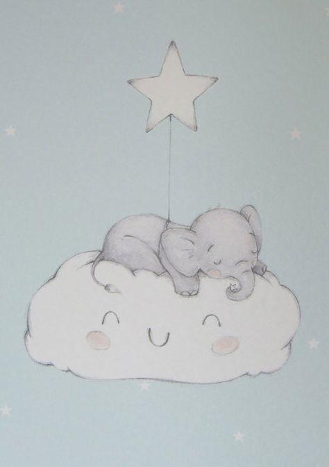 Blue Baby Elephant on Cloud Nursery Wall by LittleCupCreations