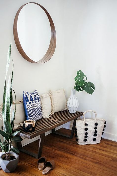 Bohemian Style Entryway With Bench Pillows Plants And Mirror Home Decor Home Decor Inspiration House Interior