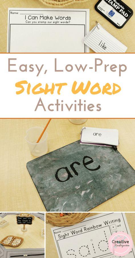 Easy Low-Prep Sight Word Activities for Kindergarten