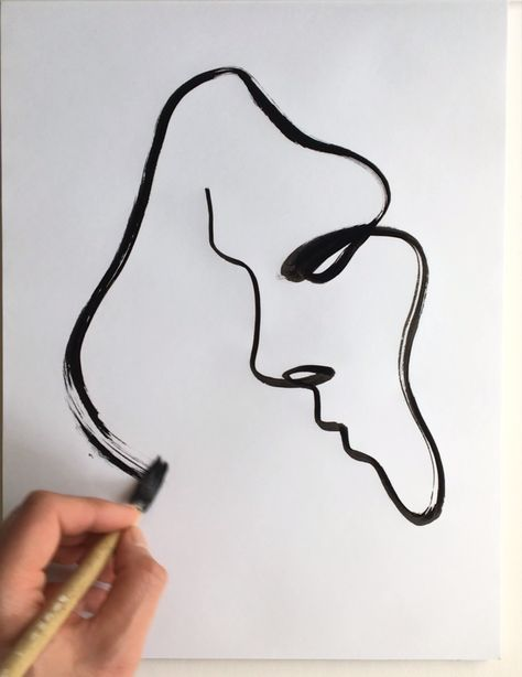 Here's a quick demonstration of a one line painting using a Japanese Sumi-e brush and some black Higgins India Ink.