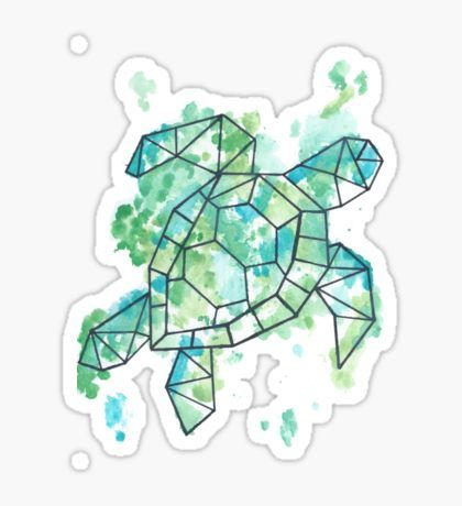 Watercolour Geometric Turtle Sticker