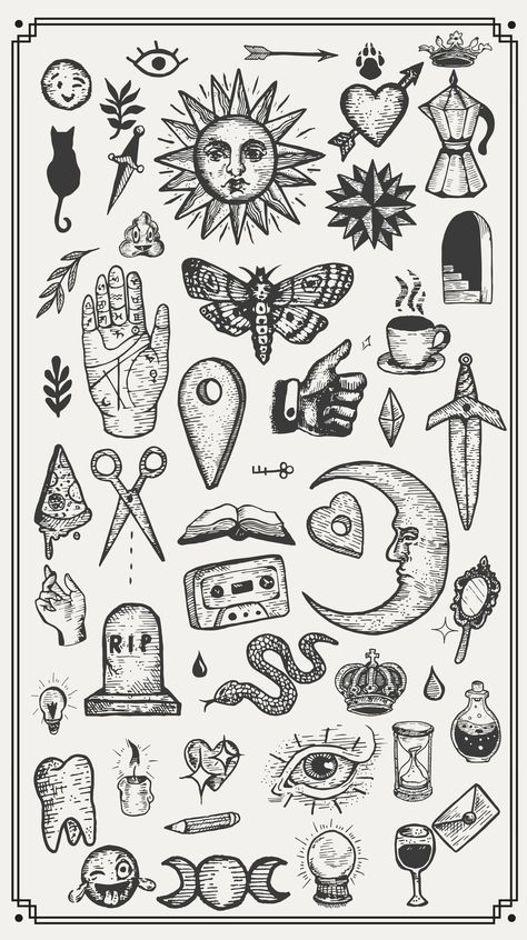 a collection of hand drawn vector vintage graphic design elements. Mini Tattoos, Leg Tattoos, Body Art Tattoos, Sleeve Tattoos, Tattos, Back Of Hand Tattoos, Sailor Tattoos, Retro Tattoos, Hand Poked Tattoo