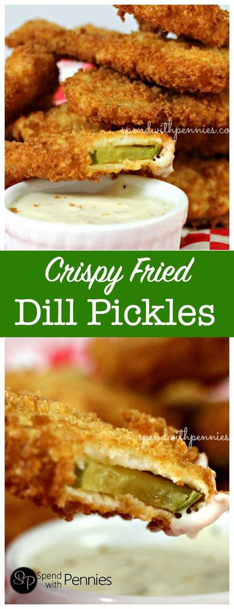 Crispy Fried Dill Pickles – Spend With Pennies Crispy Deep Fried Pickles! If you've never tried these, they have to go on your MUST TRY list! Fried Dill Pickles, Deep Fried Pickles Batter, How To Fry Pickles, Recipe For Fried Pickles, Air Fryer Recipes Pickles, Baked Pickles, Deep Fryer Recipes, Fingers Food, Snack Recipes