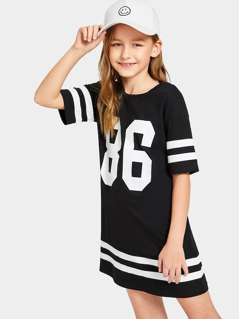 Product name: Girls Varsity Print Tee Dress at SHEIN, Category: Girls Dresses