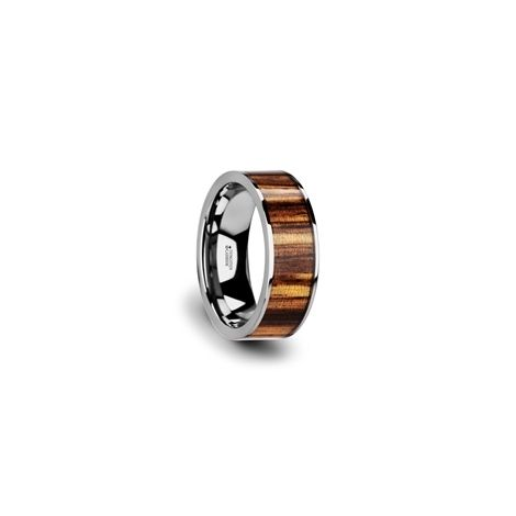 W3763 Tczw Copan Flat Tungsten Carbide Ring With Polished Edges Real Zebra Wood Inlay 8mm Tungsten Carbide Rings Wood Inlay Tungsten Carbide