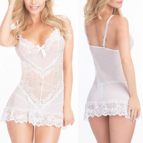 White Rose Floral Lace Mini Dress Chemise Nightie Lingerie Babydoll Teddy M-7XL in Clothing, Shoes & Accessories, Women's Clothing, Intimates & Sleep, Teddies | eBay
