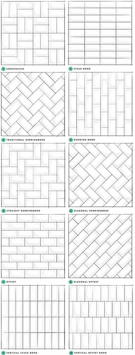 Tile patterns for wall, floor, backslash and fireplace hearth.