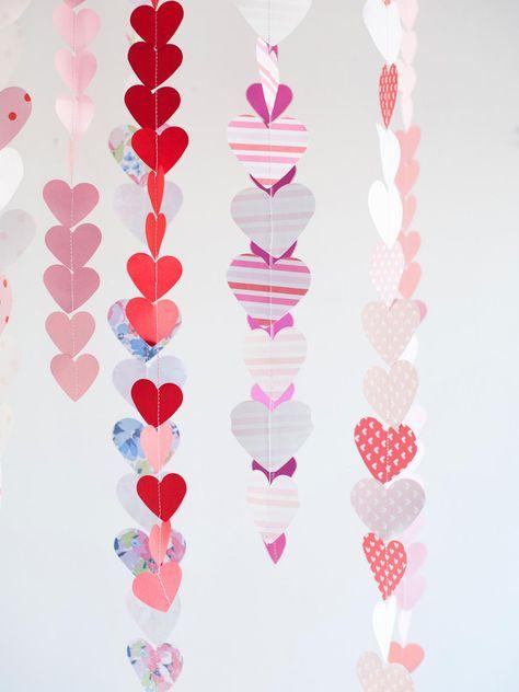 DIY Valentine's Day Paper Heart Garland