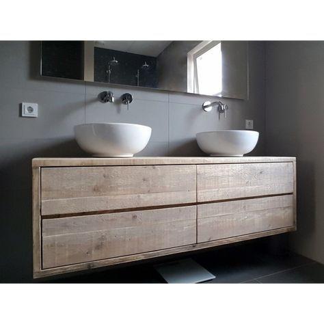 Steigerhouten badkamer meubel top | Baños | Pinterest | Toilet and ...