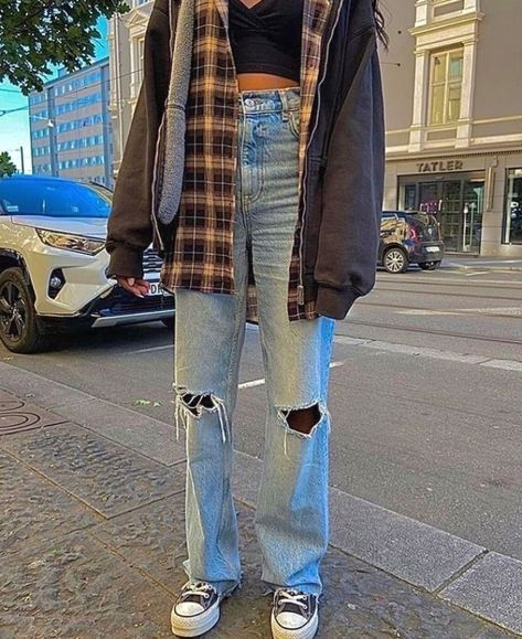 Indie Outfits, Adrette Outfits, Teen Fashion Outfits, Retro Outfits, Cute Casual Outfits, Grunge Outfits, Winter Outfits, Vintage Outfits, Plaid Shirt Outfits