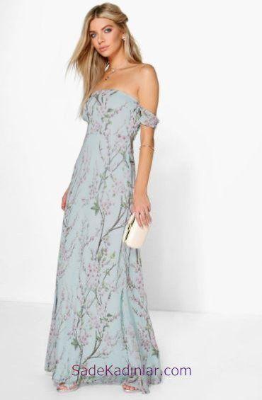 2020 Gunluk Elbise Modelleri Mavi Uzun Cicek Desenli Askili Yazlik Elbiseler Maksi Elbiseler Elbise Modelleri Yazlik Kiyafetler