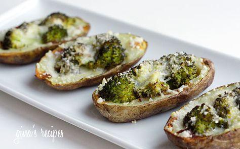 Broccoli and Cheddar Skinny Potato Skins.