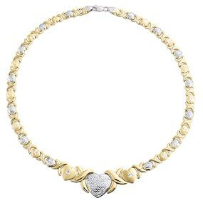1 10th 10k Yellow Gold Two Tone Hearts Xoxo Stampato Statement Necklace 16 In 2021 Necklace Yellow Gold Statement Necklace