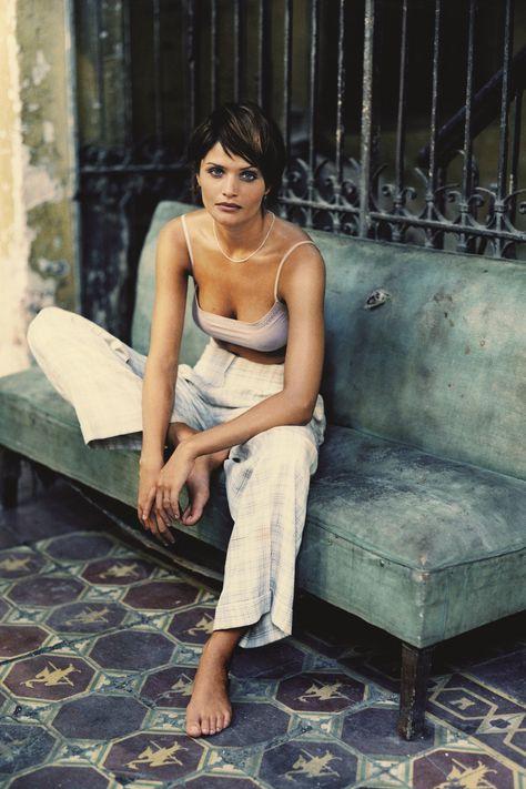 "Vogue UK March 1994 ""Our Woman in Havana"" Model: Helena Christensen Photographer: Mikael Jansson Stylist: Kate Phelan Helena wearing Rifat Ozbek top"