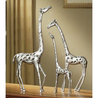 Giraffe Family 3 Piece Figurine Set Giraffe Decor Giraffe Family Family Sculpture