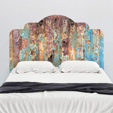 tete de lit originale en panneau rouillé, linge de lit noir et blanc, deco  chambre style vintage chic b1d8344a87a7