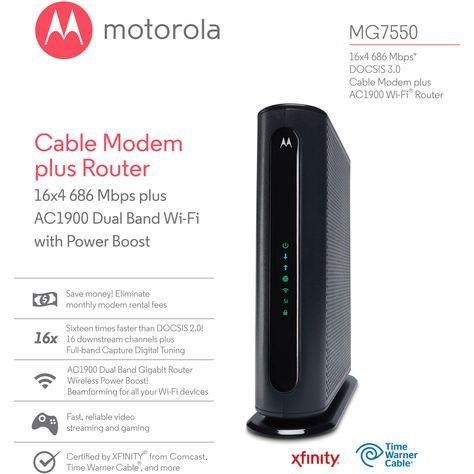 Motorola MG7550 16x4 Cable Modem, AC1900 Dual Band WiFi