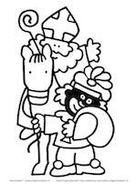 Kleurplaten Sint En Piet En Paard.Kleurplaat Sint Kleurplaten Sinterklaas Fictional Characters
