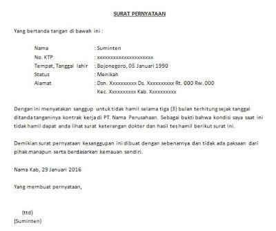 Contoh Surat Pernyataan Kerja Surat Tanda Kerja