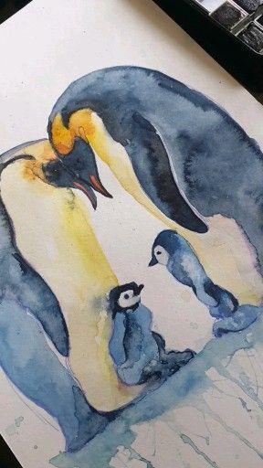 #watercolorpainting  #watercolor  #animalart #animalportraits  #penguin