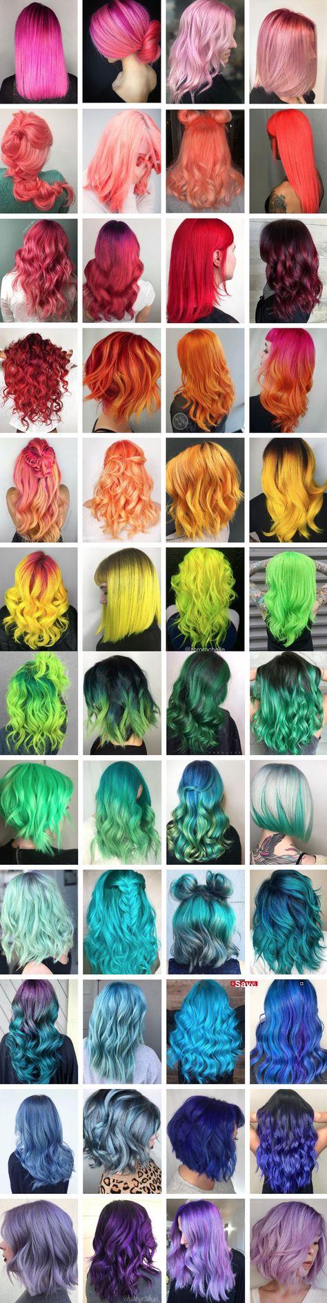 Rainbow of hair color inspiration. # hair color inspiration # rainbow Rainbow of hair color inspirat Pretty Hair Color, Beautiful Hair Color, Fun Hair Color, Cinnamon Hair, Pelo Multicolor, Hair Dye Colors, Bright Hair, Crazy Colour, Dream Hair