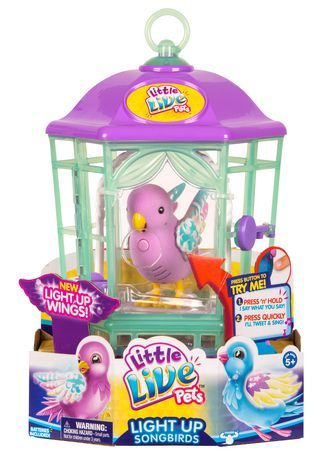 Little Live Pets Bird With Cage Rainbow Glow Little Live Pets