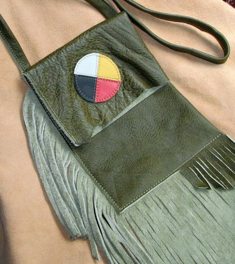 Fringed Leather Pouch / Crossbody Bag  Green w by aosLeather, $45.00