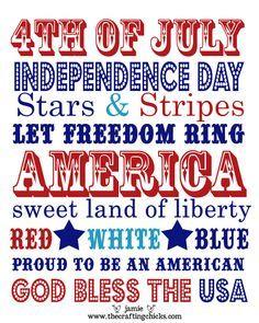 4th Of July Word Art Free Printable 4 Juli Party 4 Juli