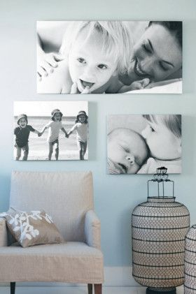 Blue walls and black and white photos <3