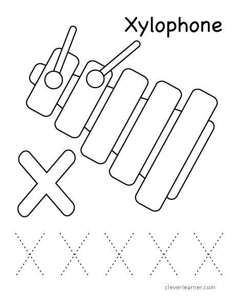 X Is For Xylophone Color Activity For Preschool Kindergarten Worksheets Printable Preschool Worksheets Preschool Letters