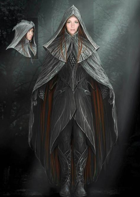 """Concept art of Tauriel in armor with hood from """"The Hobbit: Desolation of Smaug"""" (2013). While the finished costume used for filming did indeed have a hood, the final color of Tauriel's suede and leather outfit was dyed a rich moss-green."""