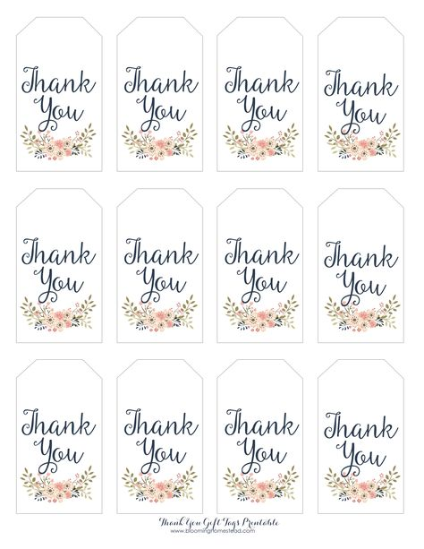 Thank You Floral Gift Tags by Blooming Homestead