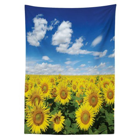 Sunflower Outdoor Tablecloth Fresh Sunflowers Field Under Clear Sky Clouds Countryside Farm Picture Decorative Washable Fabric Picnic Tablecloth 58 X 120 Inc Outdoor Tablecloth Picnic Tablecloth Farm Pictures